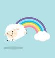 pastel rainbow with sheep vector image vector image