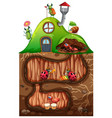 scene with insects in underground hole vector image