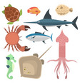 Sea animals creatures characters cartoon