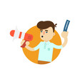 seller man with megaphone icon vector image vector image