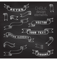 Set of retro ribbons on chalkboard background vector image vector image