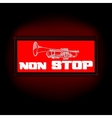 sign non-stop music with trumpet vector image vector image