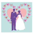 silhouette of wedding couple vector image vector image