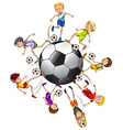 Soccer players around a ball vector image
