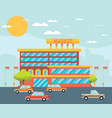 supermarket building facade with parking in front vector image vector image