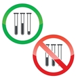 Test-tubes permission signs set vector image vector image