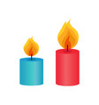 two small decorative candles vector image