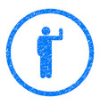 vote person pose rounded grainy icon vector image vector image