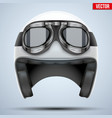 White motorcycle classic helmet with goggles vector image vector image