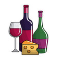wine bottles and cup design vector image vector image
