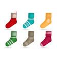 winter knitted socks set vector image