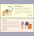 workplace in office web posters set empty tables vector image vector image