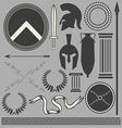 Old greek roman spartan set icons vector image
