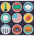 USA flat circle icon set vector image