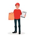 a uniformed courier-messenger holding packing vector image
