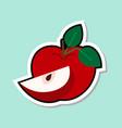 apple sticker on blue background colorful fruit