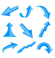 blue bent arrows shiny 3d icons vector image vector image