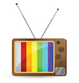 Brown Vintage TV with Rainbow Screen vector image