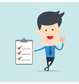 Business man show checklist note vector image