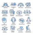 business management icons set in line style vector image vector image