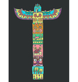 Color Totem pole with animals vector image