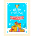 colorful pile of christmas gifts and hand vector image vector image