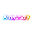 colorful spectrum anniversary paper card vector image vector image