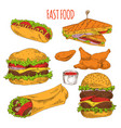 fast food collection of tasty snacks colorful card vector image vector image
