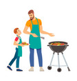 father and son having a barbecue party in their vector image vector image