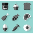 Flat icon set Food White style vector image vector image