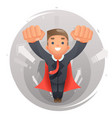 flying happy cute superhero businessman character vector image