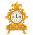 golden clock in baroque style dial with hands vector image vector image