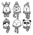 hand drawn winter cute characters set vector image vector image