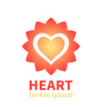 heart outline over flower shape logo element vector image vector image