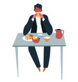 man eating food at home or restaurant businessman vector image