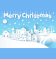merry christmas poster with city vector image vector image