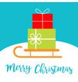 merry christmas santa claus sleigh sled icon cute vector image