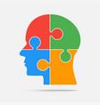 multi color puzzle piece head - jigsaw vector image vector image