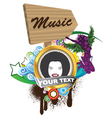 music emblem vector image vector image