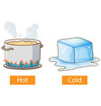 opposite adjectives words with hot and cold vector image vector image