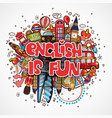 phrase english is fun educational and travelling vector image vector image