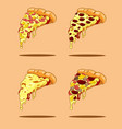 pizza slices collection vector image