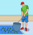 pop art smiling man cleaning pool vector image vector image