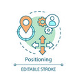 positioning concept icon pinned geolocation icon vector image