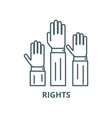 rightsthree hands up line icon linear vector image vector image