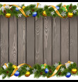 Seamless Christmas Old Board with Golden Ribbon vector image vector image