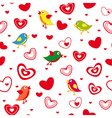 Seamless pattern with hearts and birds vector image vector image