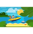 Seascape with Couple on Yellow Jet Ski vector image