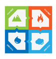 set 4 elements fire water air ground vector image