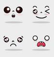 set kawaii cute faces expression vector image vector image